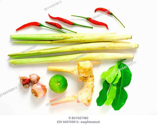 Thai spices ingredient lemongrass,lemon,Kaffir lime leaf,shallot,chilli on white background