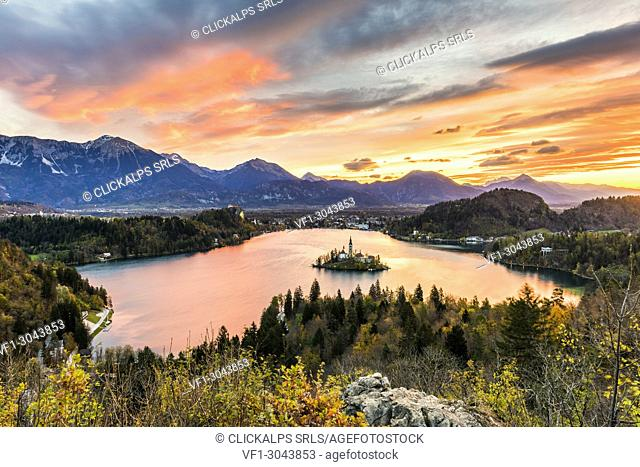 Elevated view of lake Bled at sunrise. Bled, Upper Carniola, Slovenia