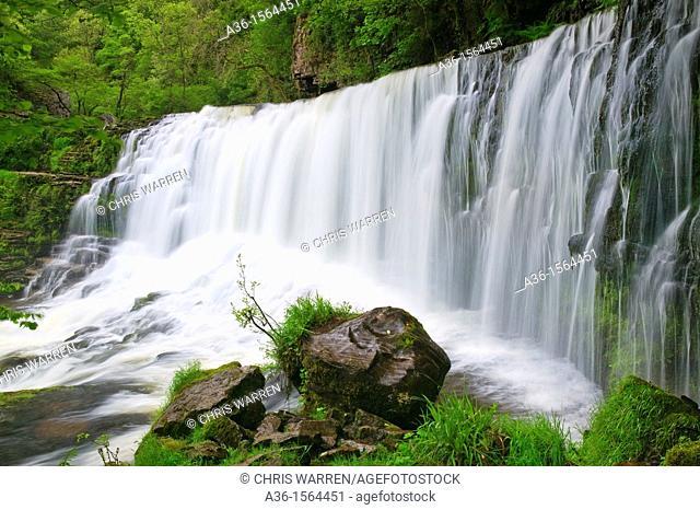 Sgwd Isaf Clun Gwyn Waterfall Afon Mellte at Ystradfellte Brecon Beacons Powys Wales