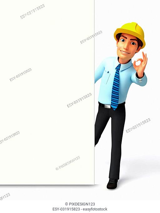 3d rendered illustration of Service man with sign