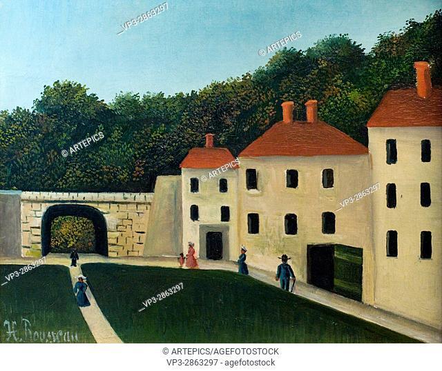 """Henri-Julien Félix Rousseau aka """"""""Le Douanier"""""""". Promeneurs dans un parc - People walking in a park. 1900-10. XX th Century. Paris Orangerie Museum"""