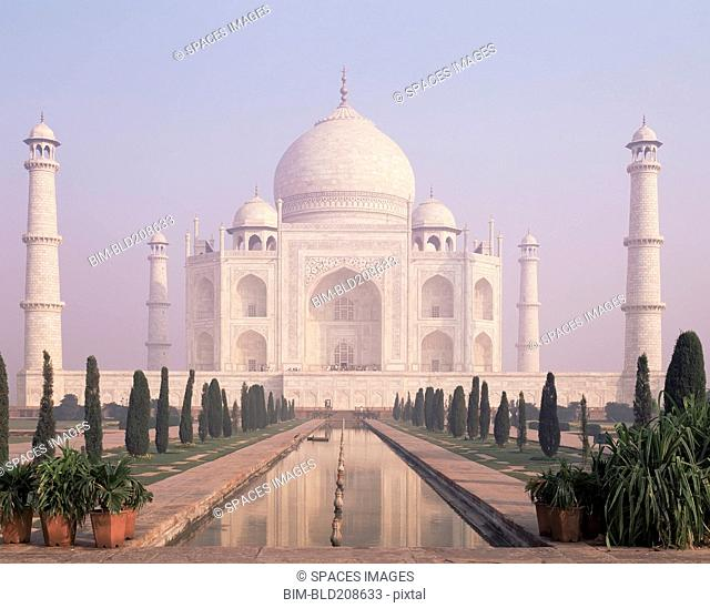 The Taj Mahal, a white marble mausoleum