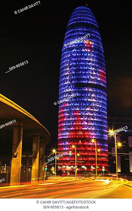 Spain, Cataluna, Barcelona, El Clot, the multicoloured Torre Agbar by the architect Jean Nouvel viewed from the Plaça de les Glòries Catalanes