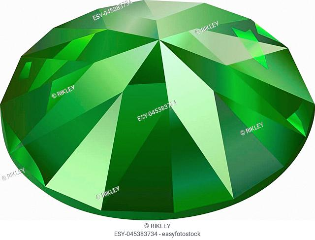 Beautiful faceted green gemstone on white background