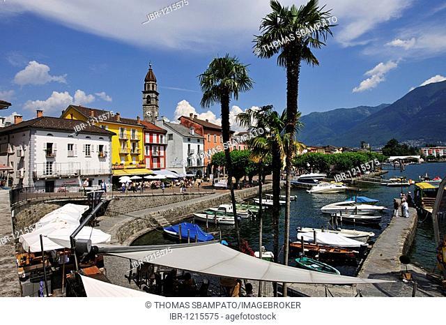 Promenade of Ascona with marina on Lago Maggiore lake, Ticino, Switzerland, Europe