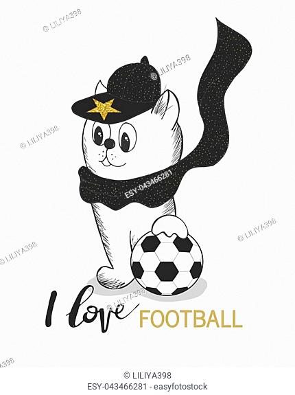 Vector illustration of cute Kitten in cap and soccer ball isolated on white background