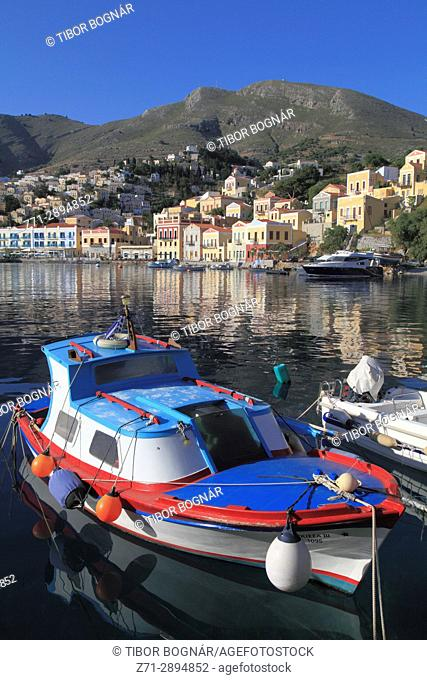 Greece, Dodecanese, Symi, Gialos, harbour, boat,