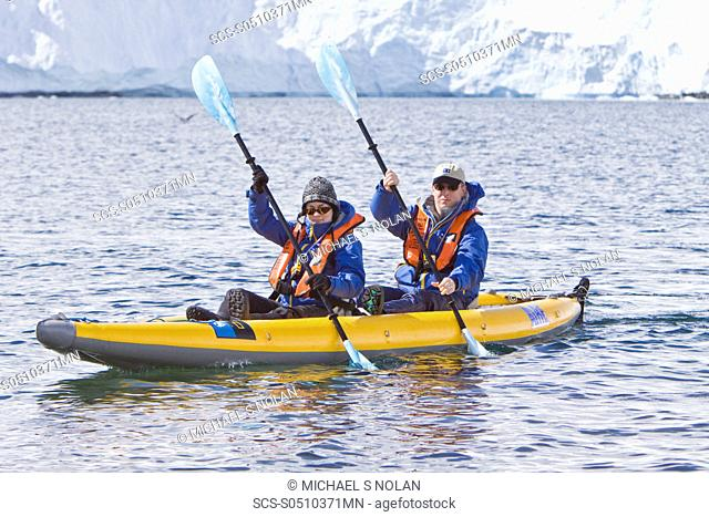 Guests from the Lindblad Expedition ship National Geographic Explorer kayaking in and around the Antarctic Peninsula in the summer months