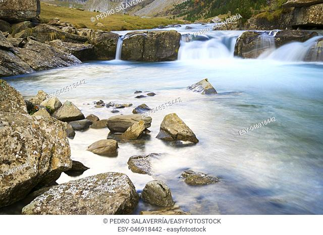 Waterfall in Ordesa National Park, Pyrenees, Huesca Province, Aragon, Spain