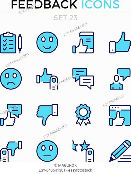 Feedback icons. Vector line icons set. Premium quality. Simple thin line design. Modern outline symbols, pictograms