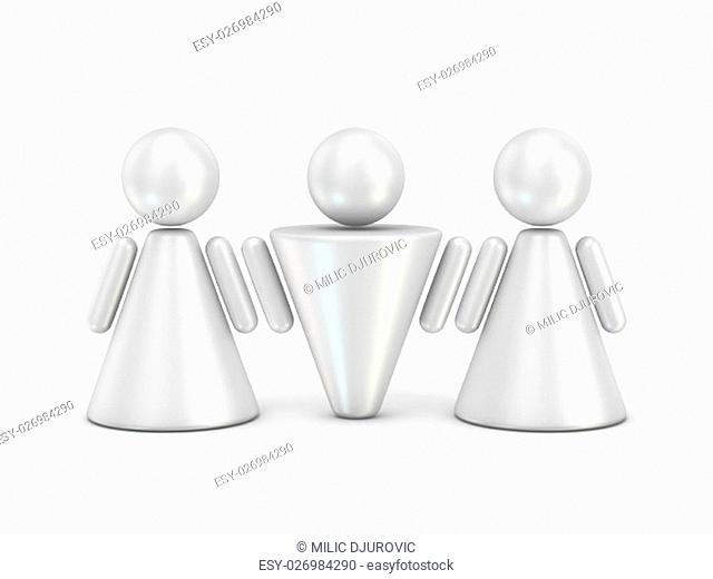 Three abstract figures. 3D render illustration isolated on white background