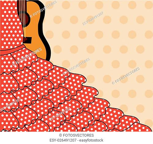 Flamenco invitation card, vector illustration