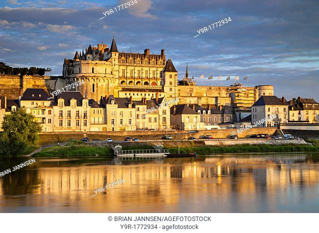Chateau d'Amboise above the River Loire, Amboise, Centre France