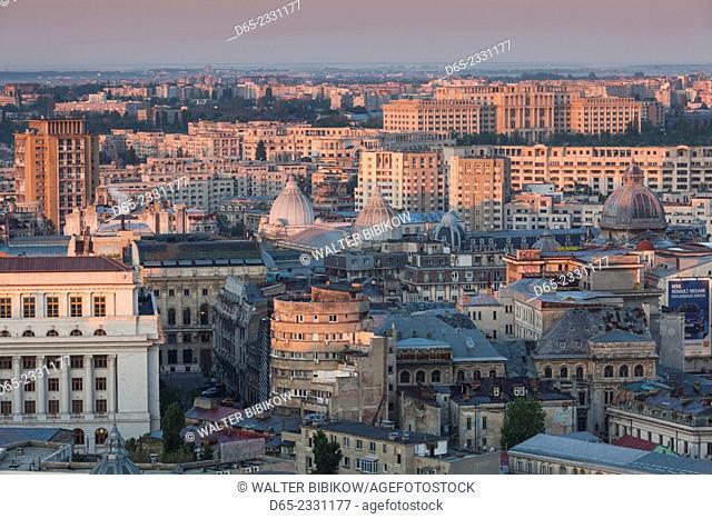 Romania, Bucharest, city skyline, elevated view, dawn