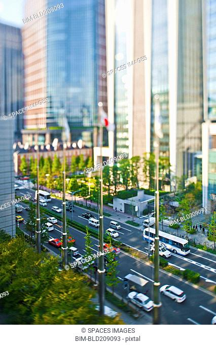 Overhead view of traffic on city street, Tokyo, Japan