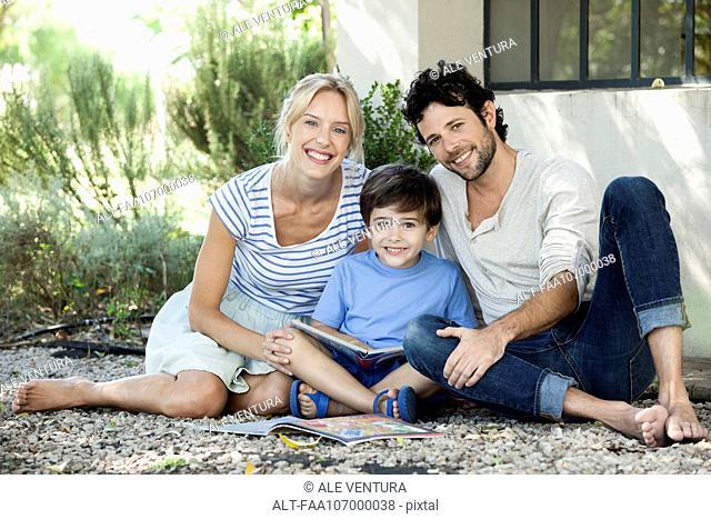 Parents with one child, portrait