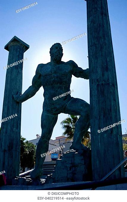Hercules and pillar statue at the entrance to Ceuta Harbour or port Ceuta, Andalusia, Spain