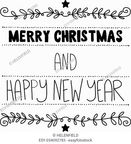 Christmas vector poster. Merry Christmas and Happy new year