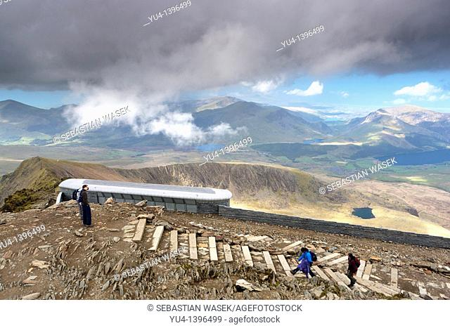 Snowdon / Yr Wyddfa, The new cafe and visitors centre at the summit of Mount Snowdon, the highest mountain in England and Wales  Gwynedd