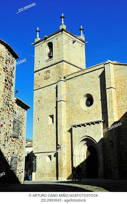 The Cáceres Cathedral of Saint Mary. Gothic, XV-XVIth centuries. Cáceres city, Spain