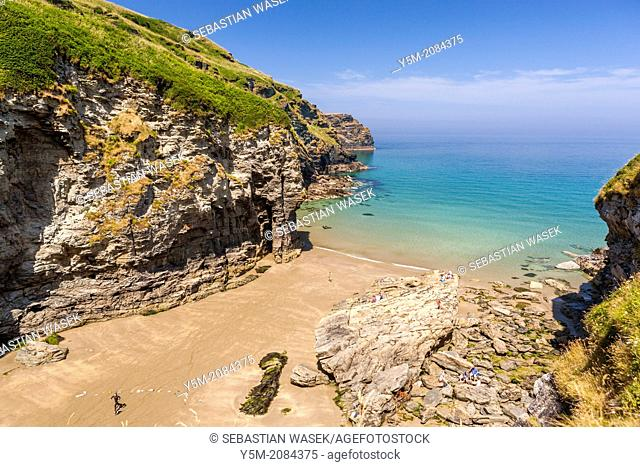View over Bossiney Haven on the north coast of Cornwall, England, UK, Europe