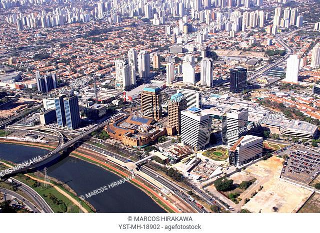 See of top, Ponte of Morumbí, Shopping Market Place, Rio Pinheiros, Vila Gertrudes, Itaim Bibi, Avenue Roque Petroni, São Paulo, Brazil