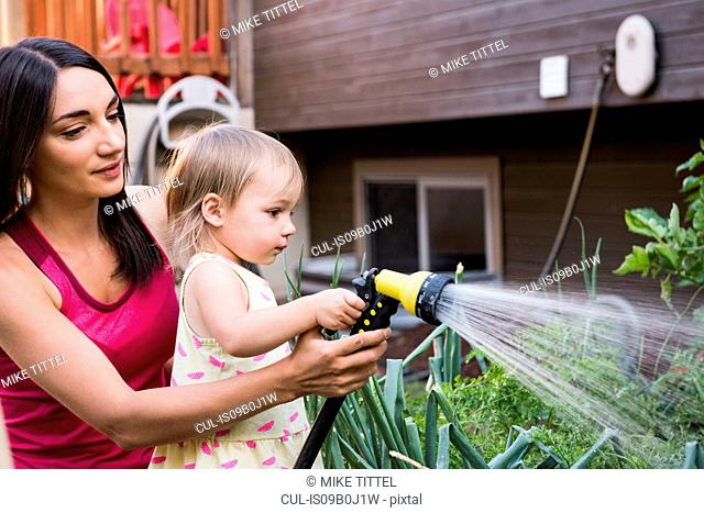 Mother and daughter in garden, watering plants together with hose