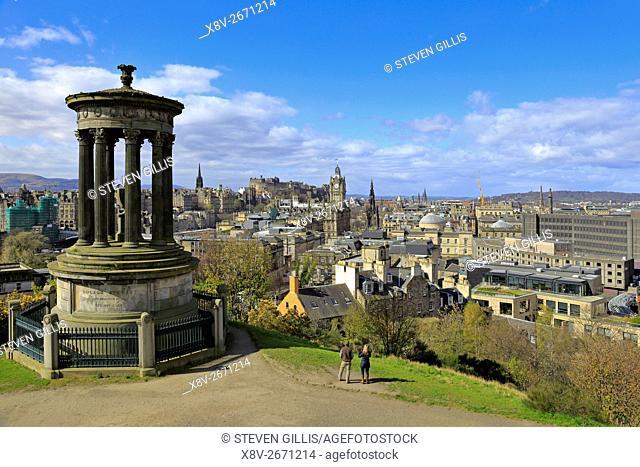 Edinburgh from Calton Hill with the Dugald Stewart Memorial in the foreground, Edinburgh, Scotland, UK