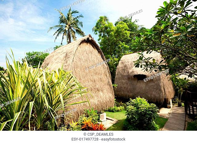 Thatch roof bungalow at tropical resort, Lembongan island, Indonesia