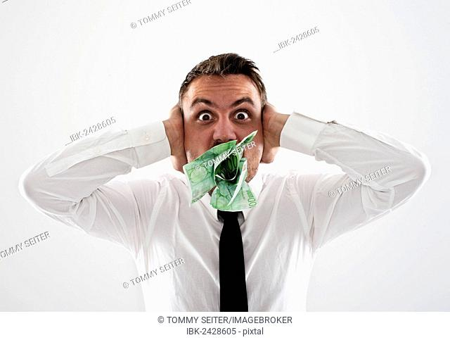 Money Man Mouth Stock Photos And Images Age Fotostock