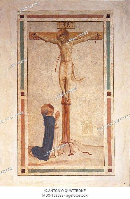 Crucifixion with St Dominic, by Guido di Pietro (Piero) known as Beato Angelico, 1438 - 1446 about, 15th Century, fresco