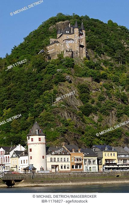 Burg Katz Castle, formally Burg Neukatzenelnbogen and Loreley city St. Goarshausen, UNESCO World Heritage Site Middle Rhine Valley, Rhineland-Palatinate