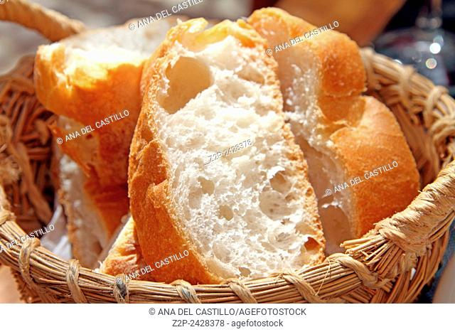 isolated basket of slice bread