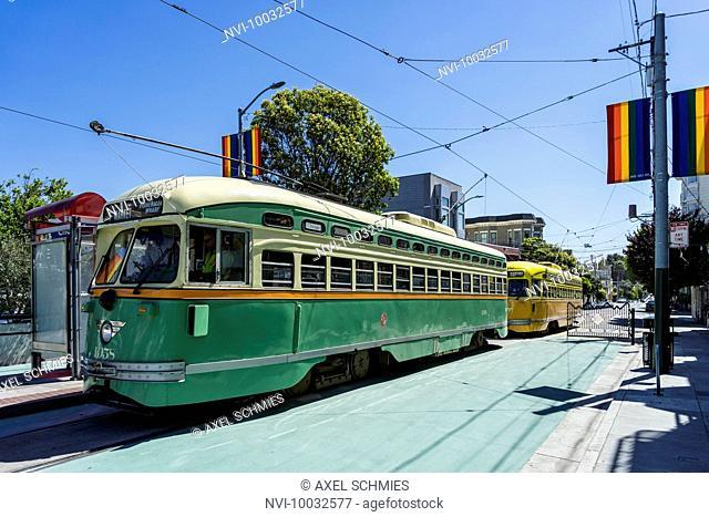 Historical TRAM, trendy district The Castro, San Francisco, California, USA
