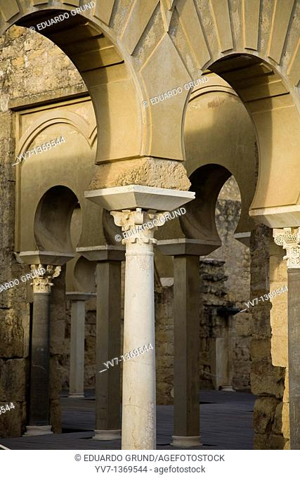 Details of horseshoe arches known as 'Building Superior Basilica  ' Madinat al-Zahra Medina Azahara, Cordoba, Andalusia, Spain