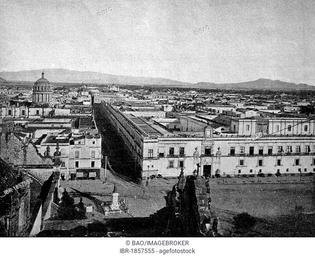 One of the first autotypes of Mexico City, historical photograph, 1884