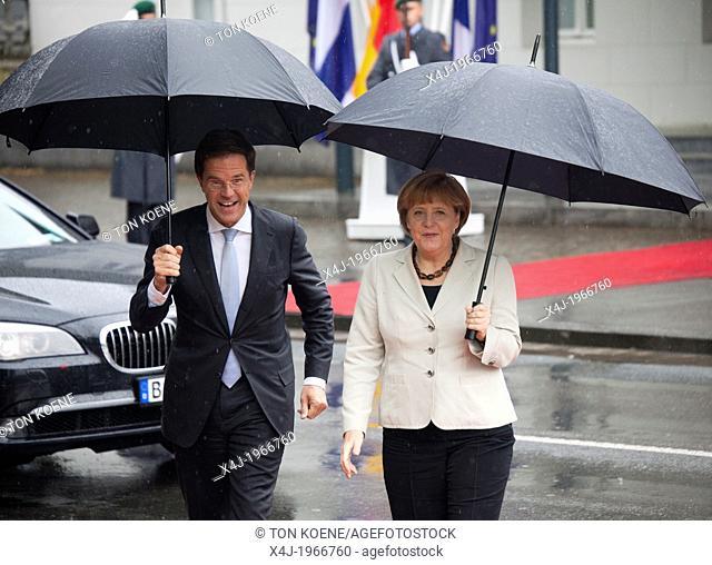 angela merkel meets the dutch prime minister Mark Rutte in Kleve, germany