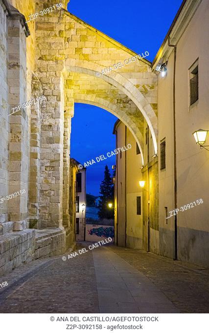 Twilight in Zamora city, Castile and Leon, Spain. San Ildefonso church