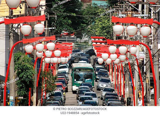 São Paulo, Brazil, Japanese-style lamps in the Asian neighborhood of Liberdade