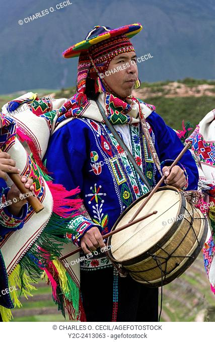 Peru, Moray, Urubamba Valley. Quechua Musicians Playing to Welcome Guests at Parador de Moray