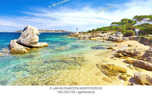 Palau, view to Lighthouse, Costa Smeralda, Sardinia Island, Italy
