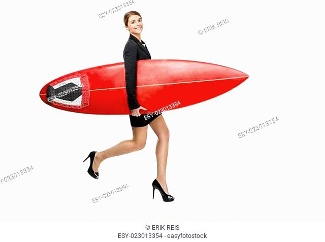 Collage of a business woman making a front flip