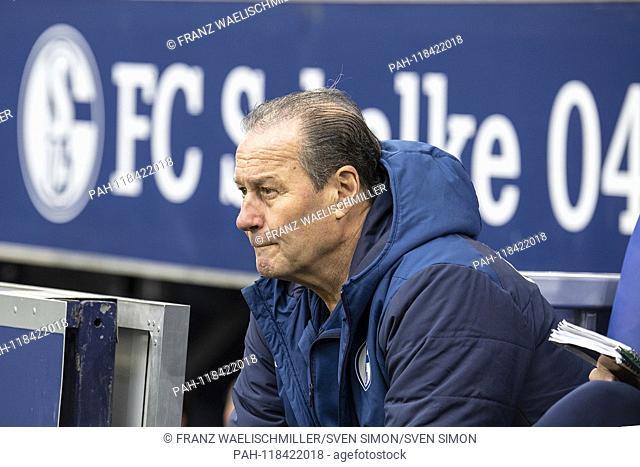 The new coach Huub STEVENS (GE) hooked on the bench; Portrait in profile; Soccer 1. Bundesliga, 26th matchday, FC Schalke 04 (GE) - RB Leipzig (L) 0: 1