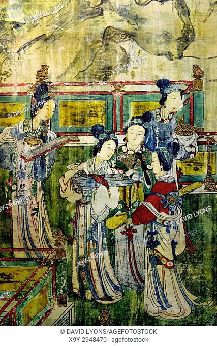 Song Dynasty. Mural detail showing female musicians. From the Holy Mother Hall aka Temple of the Goddess of the Jinci Temple, Taiyuan, Shanxi, China