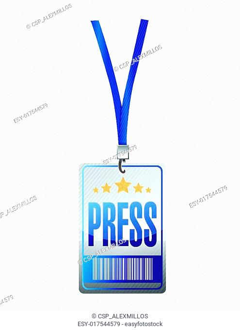 press pass tag illustration design