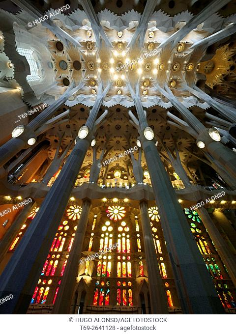 Interior view Sagrada Familia Barcelona Catalonia Spain Stock