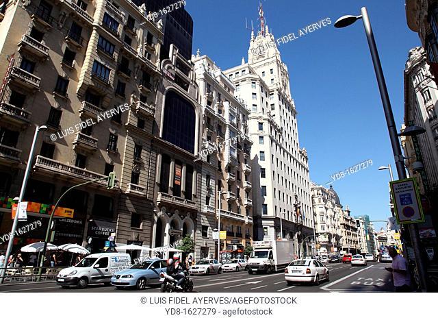 Panoramic view of the Gran Via, Madrid, Spain, Europe