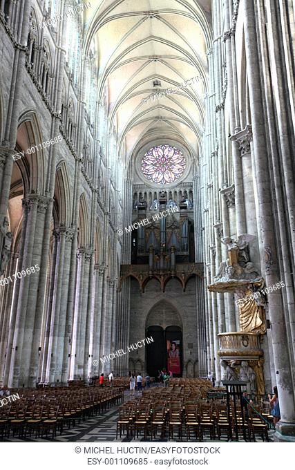 Large organ in the cathedral of Amiens, France