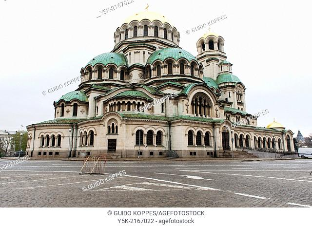 Sofia, Bulgaria. Exterior of the Eastern Orthodox Aleksander Nevski Cathedral, seat of the Bulgarian Patriarch, under cloudy skies