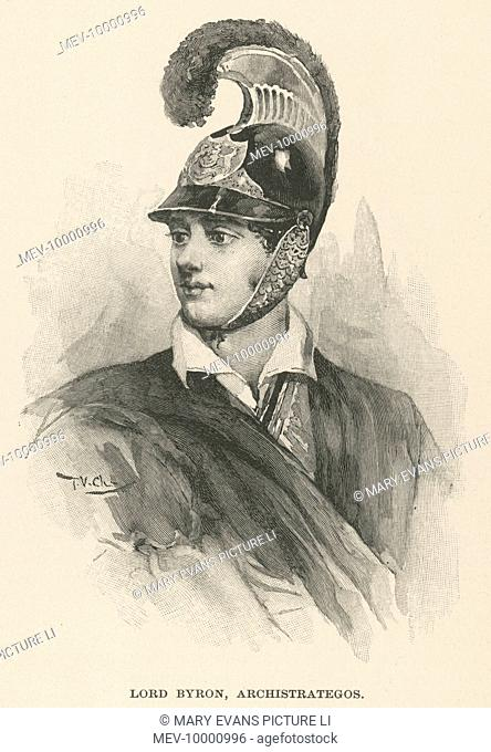 George Gordon Byron, 6th Baron Byron (1788-1824) in the uniform of a Greek patriot, including a cavalry helmet which he designed himself